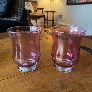 2 Crate&Barrel iridescent Glass Candle Hurricanes